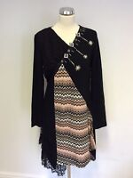 STELLA MORGAN BLACK & MULTI PRINT LACE TRIM KNIT DRESS SIZE 14