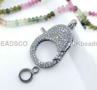 Pave Diamond Two Tone Bird Lobster Clasp Lock 925 Sterling Silver Findings