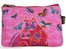 Laurel Burch Fuchsia Cats & Flutterbyes Cosmetic Bag Organizer Makeup CAT