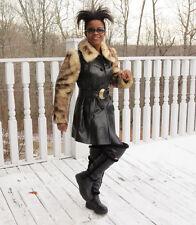Midi length Black leather & white cinnamon Shearling Fur coat Jacket S 0-4/6