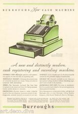 1930s antique BURROUGHS Accounting Business OFFICE MACHNE Cash Register GREEN Ad