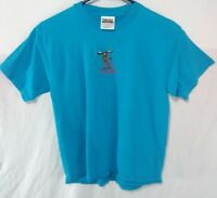 Bullwinkle The Moose Alaska Youth Size Medium T Shirt Blue Embroidered Vtg 90s
