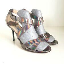 Jimmy Choo Lottie discoteca Holograma Sandalias De Boda Zapatos con Tiras Stiletto PVP 850 $