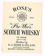 1930s England Rose's Pre-War Scotch Whisky Label