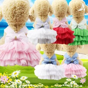 Pet Puppy Dog Dress Clothes Doggie Lace Tutu Denim Skirt Chihuahua Summer HOT V