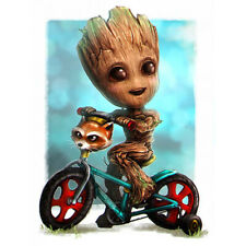 5D Full Drill Groot Bike Diamond Painting Embroidery Kit Wall Decor Gift Cartoon