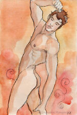 ORIGINAL MALE NUDE Watercolor - SPIRALS - by GERMANIA