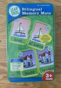 BILINGUAL MEMORY MATE LEAP FROG GAME TIN CAN IN SPANISH & ENGLISH AGES 3 AND UP