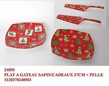 Piatto quadrato ceramica per dolce o panettone decoro natalizio con paletta