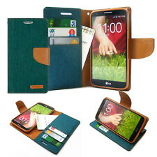 Canvas Diary Slim Flip Leather Wallet Case Cover w/Silicone For iPhone Galaxy LG