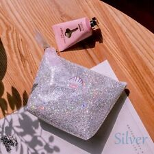 Fashion Sequins Shell Cosmetic Travel Makeup Bag Bling Shiny Toiletry Case Pouch Silver