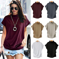 Women Short Sleeve T-Shirt Slim Fit Turtle Neck Pullover High Tops Casual Blouse