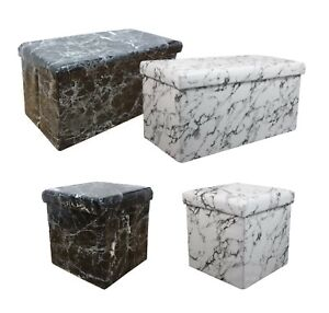 Marble Look Folding Storage Ottoman Seat, Stool, Toy Storage Box Faux Leather