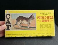 Vintage animal spell strips puzzle game, c1920's