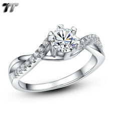 Quality TT RHODIUM 925 Sterling Silver Engagement Wedding Ring Size 5-8 (RW39)