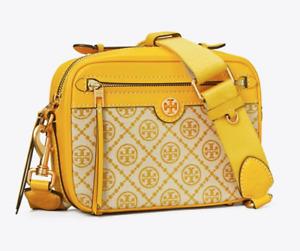 Tory Burch T MONOGRAM JACQUARD Crossbody CAMERA BAG Yellow Goldfinch Authentic