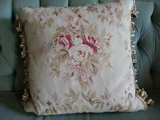 NEW  Floral  Embroidered Tapestry Throw Pillow 18x18