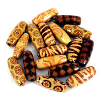 NEW *LARGE* 50pcs Wooden beads ~mixed patterns~23x8mm New Rice beads Mix W405