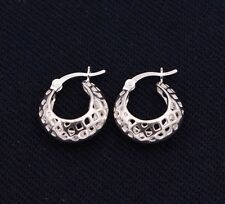 Mesh Filigree Puffed Huggie Hoop Earrings 14K White Gold Clad Real Silver 925