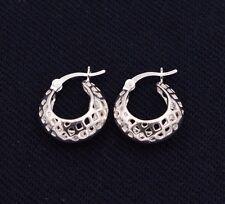 Mesh Filigree Puffed Huggie Hoop Earrings 14K White Gold Clad Real Silver 925