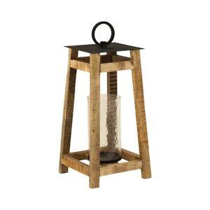 Elk Lighting Ridgetop Lantern, Grey and Natural Mango Wood - 404634
