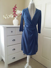 NWT Ann Taylor Wrap Dress Teal Blue Rayon Spandex Knit 3/4 Sleeve Sz.MP $128