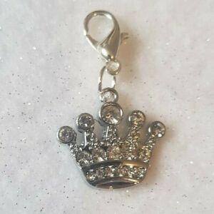Pet Dog Diamante Prince / Princess Crown Metal Collar Charm Silver Tone Puppy