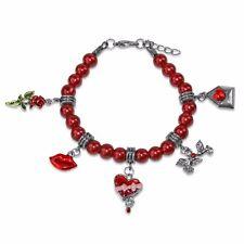 Valentines Day Charm Bracelet Silver Chocolate Box-Lips-Rose-Love Letter-Doves