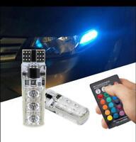 2X T10 6 SMD Reading Wedge Lights Car Remote Control RGB LED W5W 501 Side Bulbs