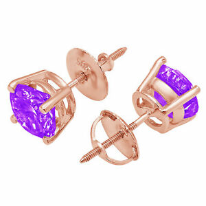 0.5CT Round Cut Classic Studs Natural Amethyst 18k Pink Gold Earrings Screw back