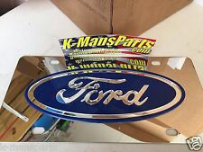 Ford oval tag vanity license plate chrome stainless steel BLUE emblem