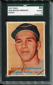 1957 Topps Baseball #328 Brooks Robinson Rookie Card RC Graded SGC EX MINT 80 6