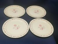 Vintage Taylor Smith And Taylor Set/4 Dessert/Salad Plates Pink Rose Design USA