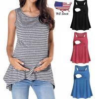 Women Pregnancy Sleeveless Top Blouse Tee Shirt Nursing Breastfeeding Vest Tank