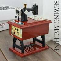 Music Box Mini Sewing Machine Musical Mechanical Mahogany Vintage CL