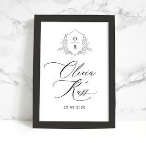 Personalised Wedding Gift Print Anniversary A4