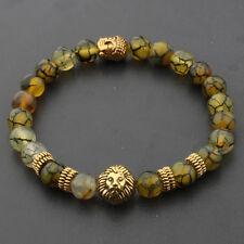 8MM Fashion Natural Lava Agate Gold Lion Buddha Head Men's Charm Beads Bracelets
