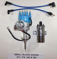 DODGE Small Block 273-318-340-360 BLUE SMALL CAP HEI Distributor + CHROME Coil
