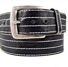 """34"""" Men's High Quality Heavy Leather White Stitching With Sold Brass Belt Buckle"""