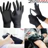100 Disposable Nitrile Gloves Black XS S M L XL Slip Resistant Powder Latex Free