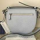 NWT Rebecca Minkoff bleached blue leather star perforated astor saddle bag purse