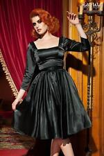 NWT STUNNING PINUP COUTURE BLACK SATIN MARGARET DRESS SMALL