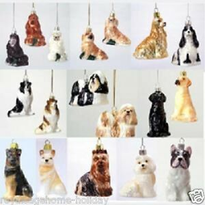 C4499 Kurt Adler Noble Gems Dog Breed Glass Christmas Ornament Pet Puppy Friend