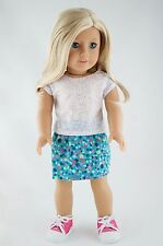White Tee and Turquoise Skirt American Made Doll Clothes For 18 inch Girl Dolls