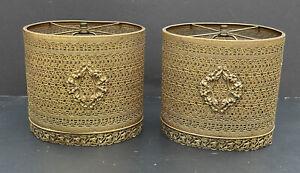RARE PAIR! Vintage Gold Antique Lamp SHADES FILIGREE Hollywood Regency METAL