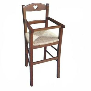 Sediolone in legno noce scuro con seduta in paglia seggiolone sedia bimbo