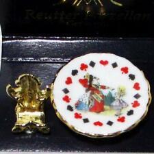 Alice in Wonderland Plate w Stand Reutter Porcelain DOLLHOUSE Miniature