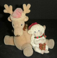 """Dreamsicles Figurine Cherub with gift and flocked reindeer """"Warm and Fuzzy"""" Vhtf"""
