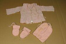 gehäkelte Baby/Puppen Jacke mit passender Mütze + Faust Handschuhen - rosa  /S36