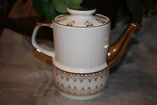 Gibsons Staffordshire England Gold and White Teapot